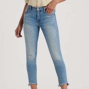 Lucky Brand Light Distressed Hem Skinny Crop Jeans